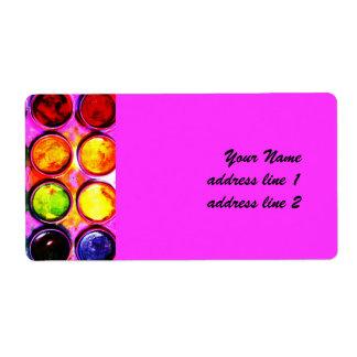 Watercolor paint color box label