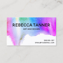 Watercolor Paint Colorful Rainbow Blot Art Artist Business Card