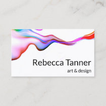 Watercolor Paint Colorful Rainbow Swirl Art Artist Business Card