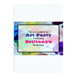 Watercolor Paint Palette Art Themed Birthday Party Card