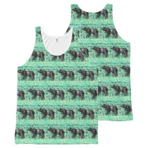 Watercolor Paint Repeat Animal Pattern Animals All-Over-Print Tank Top