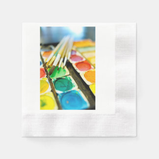 Watercolor Paint Set Coined Cocktail Napkin