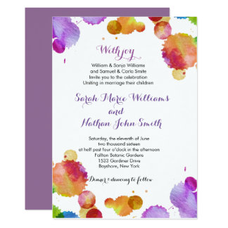 Watercolor paint splats Wedding Invitation