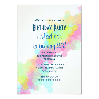 Watercolor Paint Splatter Colorful Birthday Card
