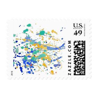 Watercolor Paint Splatters Postage Stamp
