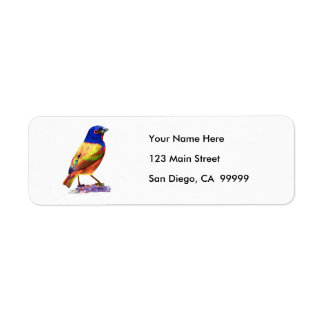Watercolor Painted Bunting Song Bird Return Address Label