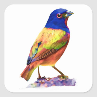 Watercolor Painted Bunting Song Bird Sticker