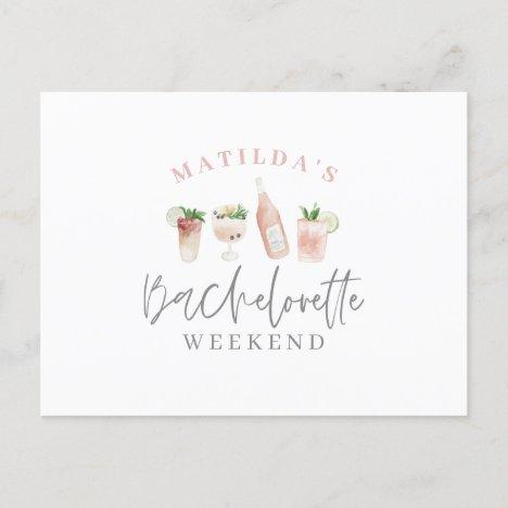 watercolor painted drinks bachelorette weekend invitation postcard