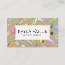Watercolor Painted Falling Leaves Colorful Leaf Business Card