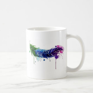 Watercolor Painted Feather Coffee Mug
