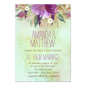 Watercolor Painted Flower Wedding 5x7 Paper Invitation Card