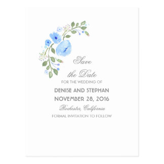 Watercolor Painted Flowers Romantic Save The Date Postcard
