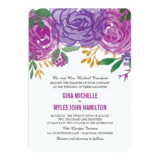 Watercolor Painted Purple Blooms | Wedding Card