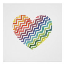Watercolor Painted Rainbow Chevron Heart Poster