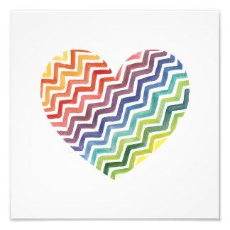Watercolor Painted Rainbow Chevron Heart Print Photo Print