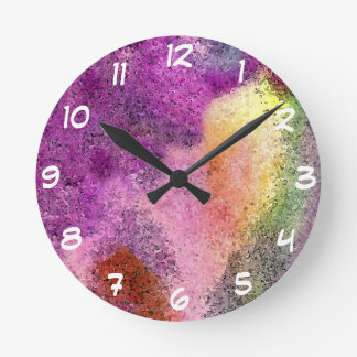 Watercolor painted Rice Paper Round Clocks