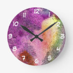 Watercolor painted Rice Paper Round Wall Clock