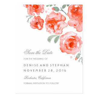 Watercolor Painted Roses Romantic Save The Date Postcard