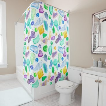 Beach Themed Watercolor Painted Sea Glass Shower Curtain