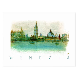 Watercolor Painted Sketch Postcard of Venice ITALY