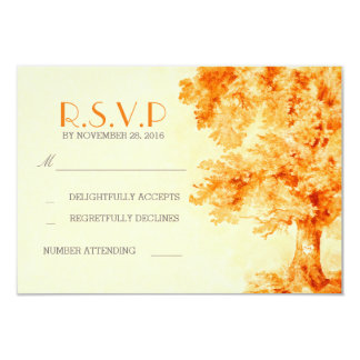 watercolor painted tree wedding RSVP cards