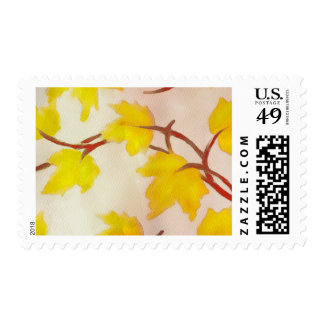 Watercolor Painted Yellow Autumn Maple Leaves Postage