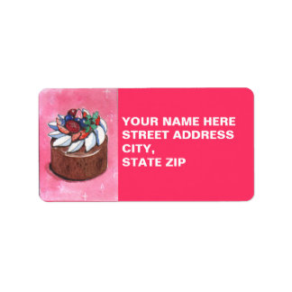 Watercolor painting Cake Address Labels