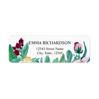 Watercolor Painting Flowers Label
