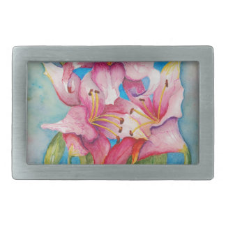 Watercolor Painting Group of Lilies Belt Buckle