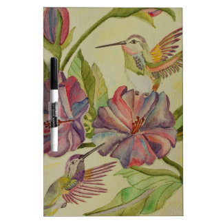 Watercolor painting hummingbirds and hibiscus dry erase whiteboards