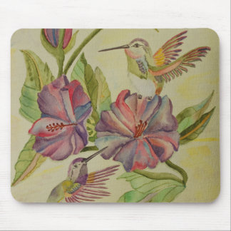 Watercolor painting hummingbirds and hibiscus mouse pad