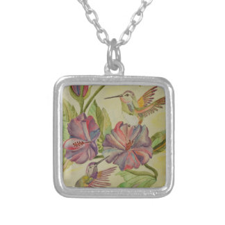 Watercolor painting hummingbirds and hibiscus silver plated necklace