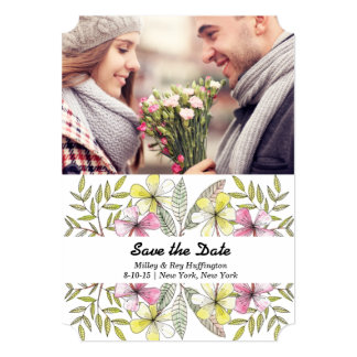 watercolor painting leaves photo save the date 5x7 paper invitation card