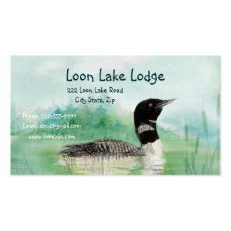 Watercolor Painting Loon, Wilderness Bird Business Card Templates