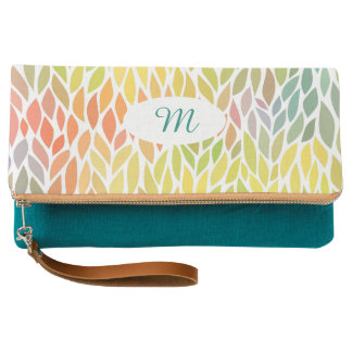 Pink purple hand painted watercolor floral clutch