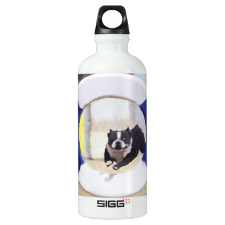 Watercolor painting of a Boston Terrier jumping Aluminum Water Bottle