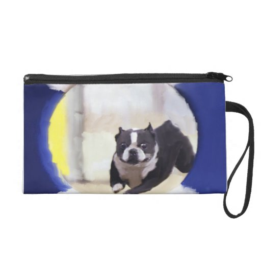 Watercolor painting of a Boston Terrier jumping Wristlet Clutches