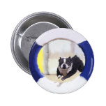 Watercolor painting of a Boston Terrier jumping Button
