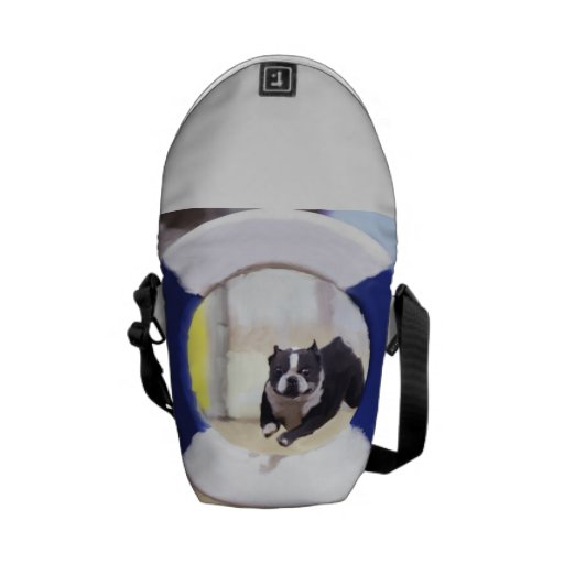 Watercolor painting of a Boston Terrier jumping Courier Bag