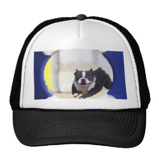 Watercolor painting of a Boston Terrier jumping Trucker Hat