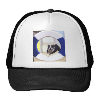 Watercolor painting of a Boston Terrier jumping Hat