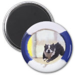 Watercolor painting of a Boston Terrier jumping Refrigerator Magnet