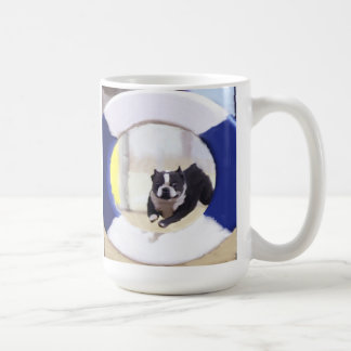 Watercolor painting of a Boston Terrier jumping Coffee Mug