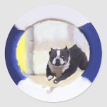 Watercolor painting of a Boston Terrier jumping Round Stickers