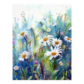 Watercolor painting of daisy field letterhead