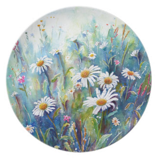 Watercolor painting of daisy field melamine plate