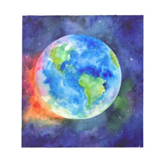 Watercolor painting of Earth Notepad