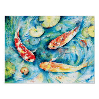Watercolor Painting of Koi in Lily Pond Poster