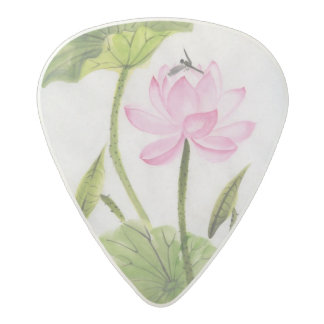 Watercolor Painting Of Lotus Flower 2 Acetal Guitar Pick