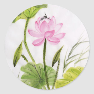 Watercolor Painting Of Lotus Flower 2 Classic Round Sticker